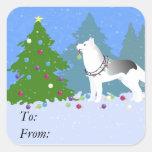 Siberian Husky Decorating Christmas Tree -Forest Square Sticker