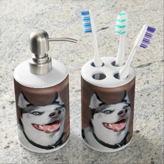 Siberian Husky dog blue eyes Soap Dispenser And Toothbrush Holder
