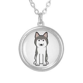 Siberian Husky Dog Cartoon Round Pendant Necklace