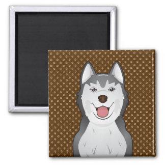 Siberian Husky Dog Cartoon Paws Square Magnet