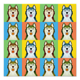 Siberian Husky Dog Cartoon Pop-Art Photographic Print