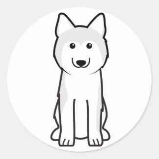 Siberian Husky Dog Cartoon Round Sticker