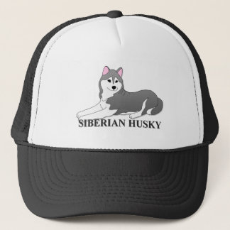 Siberian Husky Dog Cartoon Trucker Hat