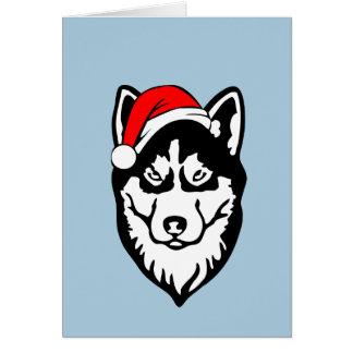 Siberian Husky Dog Christmas Santa Hat Card