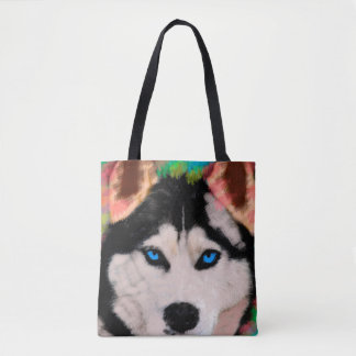 Siberian Husky Dog Colorful Art Water Color Paint Tote Bag