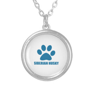 SIBERIAN HUSKY DOG DESIGNS SILVER PLATED NECKLACE