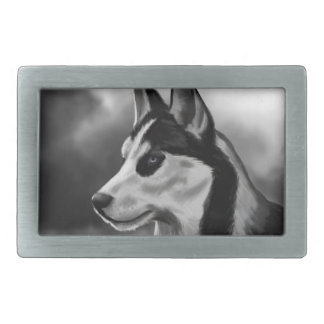 Siberian Husky Dog Portrait Digital Art Belt Buckles