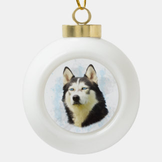 Siberian Husky Dog Water Color Art Ceramic Ball Christmas Ornament