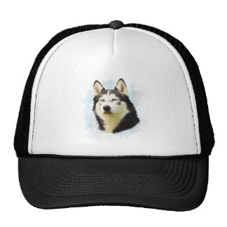 Siberian Husky Dog Water Color Art Painting Cap