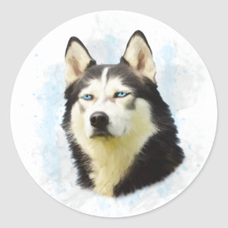 Siberian Husky Dog Water Color Art Painting Classic Round Sticker
