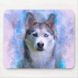 Siberian Husky Dog Water Color Art Painting Mouse Pad