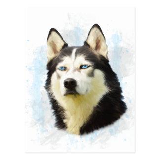 Siberian Husky Dog Water Color Art Painting Postcard