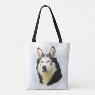 Siberian Husky Dog Water Color Art Painting Tote Bag
