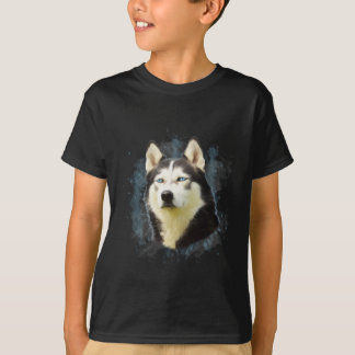 Siberian Husky Dog Water Color Art Painting Tshirt