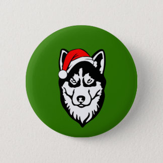 Siberian Husky Dog with Christmas Santa Hat 6 Cm Round Badge