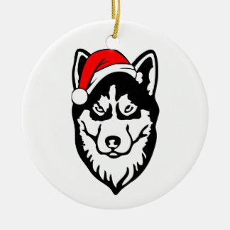 Siberian_Husky Dog with Christmas Santa Hat Round Ceramic Decoration