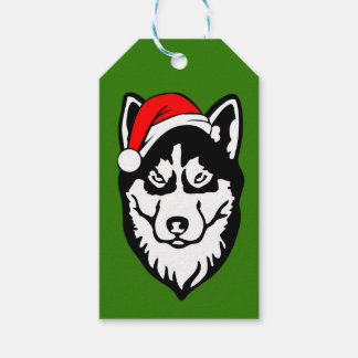 Siberian Husky Dog with Santa Hat in Snow Gift Tags