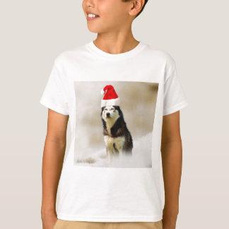 Siberian Husky Dog with Santa Hat in Snow T Shirts