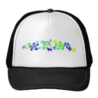 Siberian Husky Flowers Cap