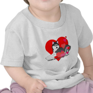 Siberian Husky Hearts Tee Shirt