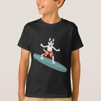 Siberian Husky Longboard Surfer Tee Shirts