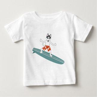 Siberian Husky Longboard Surfer Tees