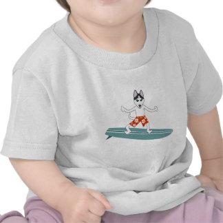 Siberian Husky Longboard Surfer T-shirts