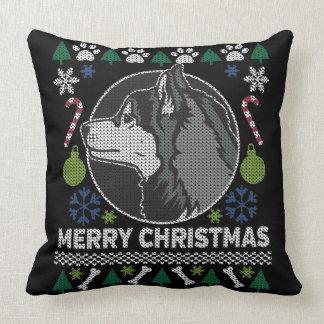 Siberian Husky Merry Christmas Ugly Sweater Cushion