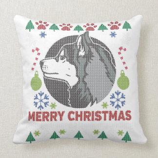 Siberian Husky Merry Christmas Ugly Sweater Design Cushion