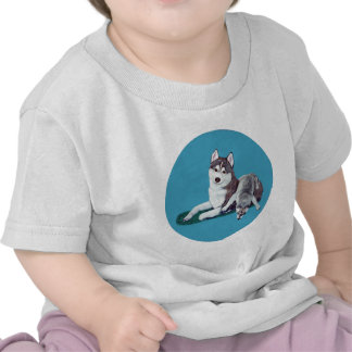 Siberian Husky Mom and Puppy T Shirts