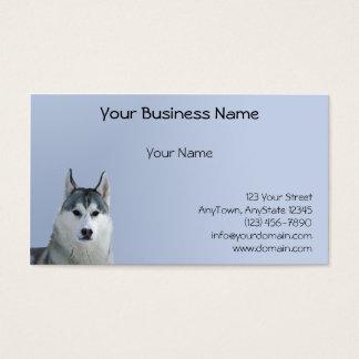Siberian Husky on Blue Background Business Card