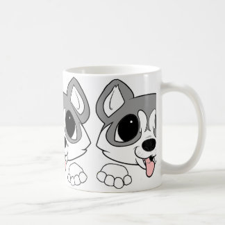siberian husky peeking gray and white coffee mug