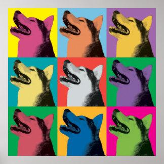 Siberian Husky Pop-Art Ornament Poster