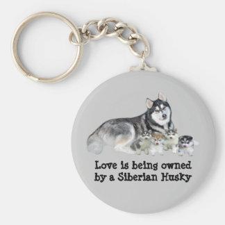 Siberian Husky & Puppies Keychain