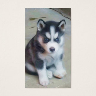 Siberian Husky puppy Art business cards