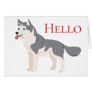 Siberian Husky Puppy Dog Hello, ,Miss You, Love Card