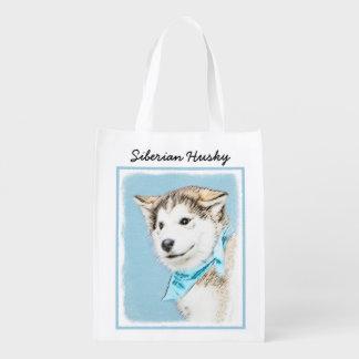 Siberian Husky Puppy Painting - Original Dog Art Reusable Grocery Bag