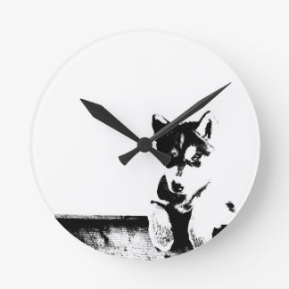 Siberian Husky Puppy Round Clock