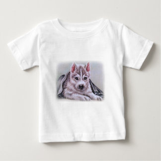 Siberian Husky Puppy with Blanket Drawing T-shirt