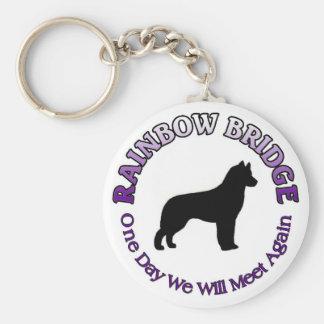 SIBERIAN HUSKY RAINBOW BRIDGE SYMPATHY DOG BASIC ROUND BUTTON KEY RING