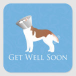 Siberian Husky - Red - Get Well Soon Design Square Sticker