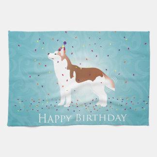 Siberian Husky - Red - Happy Birthday Design Tea Towel