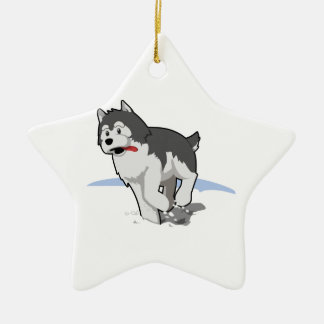 Siberian Husky Running in the Snow with Tongue Out Ceramic Ornament