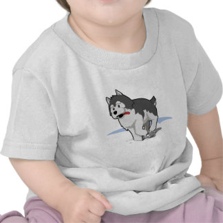 Siberian Husky Running in the Snow with Tongue Out T Shirts