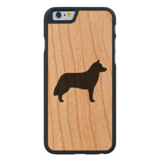 Siberian Husky Silhouette Carved Cherry iPhone 6 Case