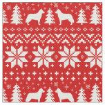 Siberian Husky Silhouettes Christmas Pattern Fabric