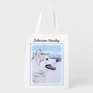 Siberian Husky (Silver and White) Painting Dog Art Reusable Grocery Bag