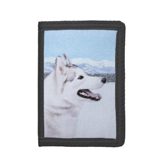 Siberian Husky (Silver and White) Painting Dog Art Tri-fold Wallet
