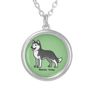 Siberian Husky Silver Plated Necklace