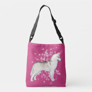 Siberian Husky Snow Flurry Crossover Bag Dark Pink